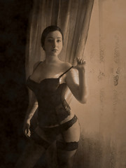 Vintage and retro style sexy women in lingerie at bedroom