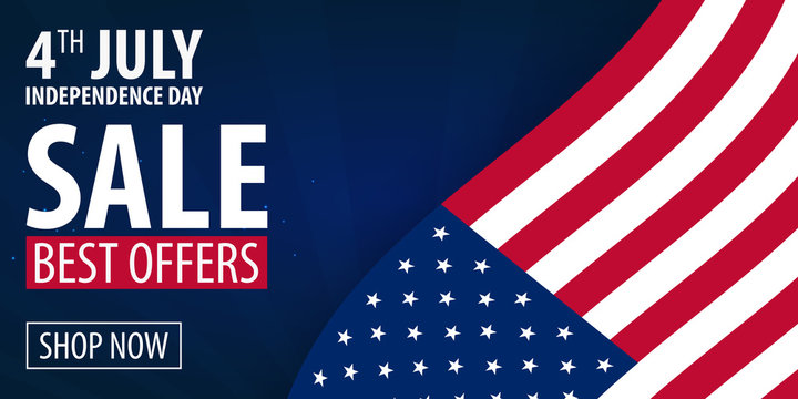 American Independence Day. 4th of July Exclusive Offers Sale, Sale Poster. Template background for greeting cards, posters, leaflets and brochure. Vector illustration.