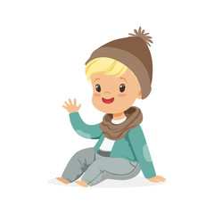 Cute little blonde boy in a brown hat and scarf sitting colorful cartoon character vector Illustration