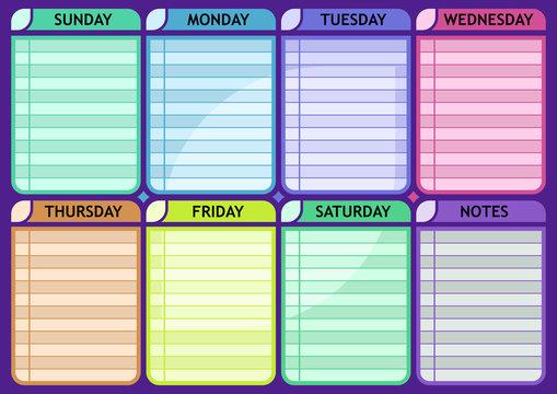 Weekly schedule blank Routine planner vector template