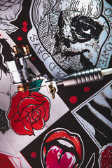 Beautiful colored designs for tattoos and induction tattoo machine.