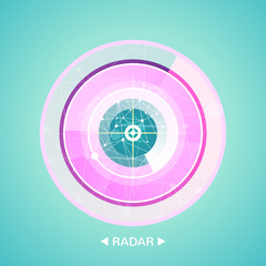 radar screen with targets in process ,dynamic illustration . Conceptual design of military radar screen. Vector illustration .