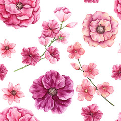 Seamless Pattern of Watercolor Magenta and Pink Flowers