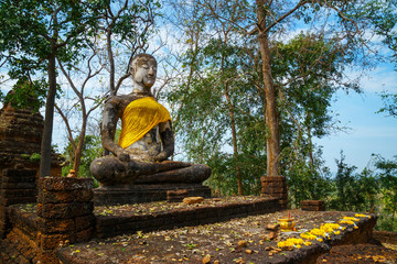 Wat Khao Phanom Phloeng Temple at Si Satchanalai Historical Park, a UNESCO World Heritage Site in Thailand