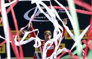 Ferrari Formula One driver Vettel celebrates his second place in in the Italian F1 Grand Prix in Monza