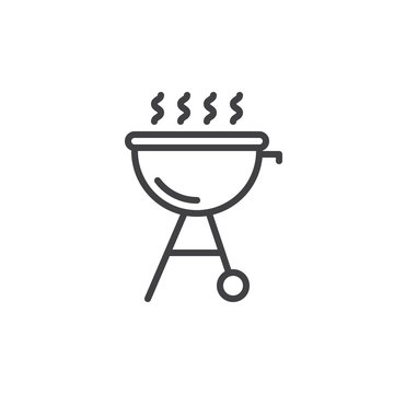 Grill line icon, outline vector sign, linear style pictogram isolated on white. Bbq symbol, logo illustration. Editable stroke. Pixel perfect