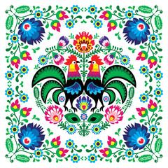 Obraz Polish floral folk art square pattern with rooster - wzory lowickie, wycinanki - fototapety do salonu