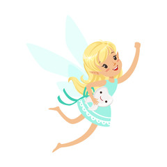 Beautiful sweet blonde Tooth Fairy girl flying with smiling tooth colorful cartoon character vector Illustration