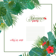 Hand drawn tropical palm leaves and jungle exotic flower wedding invitation template on white background with seamless frame border