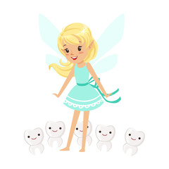 Beautiful sweet blonde Tooth Fairy girl standing surrounded by smiling teeth colorful cartoon character vector Illustration
