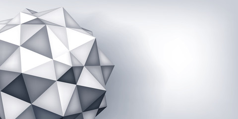 Volume vector polyhedron star. Triangle shape, 3d geometry crystal, mesh version, abstract  element on gray background for you presentation