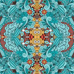 Doodle ornamental pattern with swirls