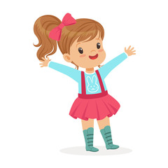 ute smiling little girl dressed in a pink skirt and bow colorful cartoon character vector Illustration