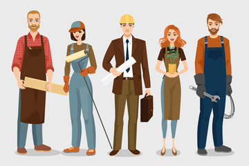 Set of illustrations of people of different professions in a cartoon style