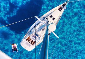 Yacht and clear Mediterranean sea. Ibiza, Spain