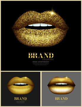 Set of glitter glossy lips. Beauty and wellness items. Fashion banner with golden lips. Vector illustration