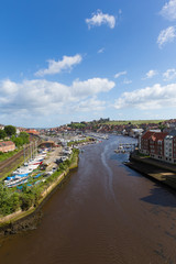 Fototapete - Whitby North Yorkshire England uk seaside town and tourist destination in summer with view of River Esk to Abbey and coast