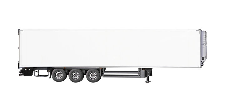 White parked semi trailer, isolated on white background. Cargo truck trailer, side view.