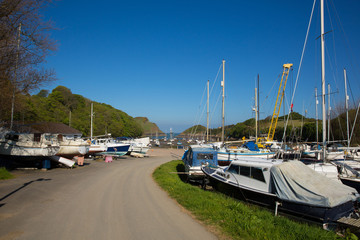 Wall Mural - Boats at Watermouth harbour North Devon coast near Ilfracombe uk