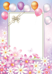 Greeting card with flowers, balloon, ornament and sheet of paper.Vector illustration