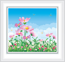 Natural landscape. Flower meadow with daisies on a blue sky background