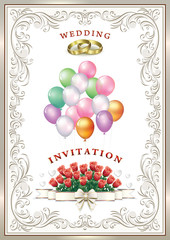 Wedding card with balloons and flowers