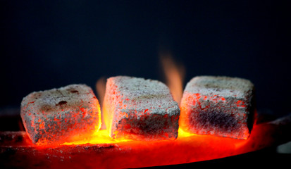 traditional hookah hot coals for smoking natural lighting close up