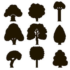 Set of 9 black silhouettes of pixel trees