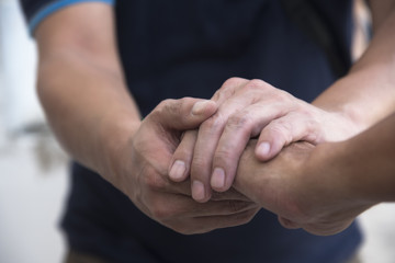 A man giving hand for sympathy