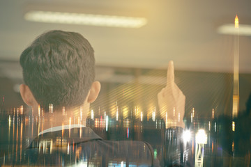 Double exposure of success businessman speech and blur bridge traffic beautiful night view in business city centre in Bangkok, thailand : investment and business concept