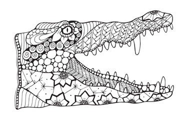 Crocodile zentangle stylized, vector, illustration, pattern, freehand pencil, hand drawn. Zen art.