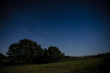 Night sky over a field