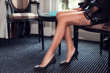 female legs wearing high heels