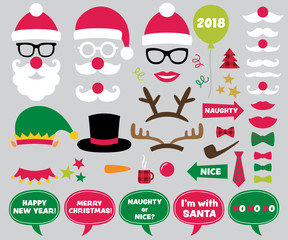 Christmas and New Year photo booth props and design elements