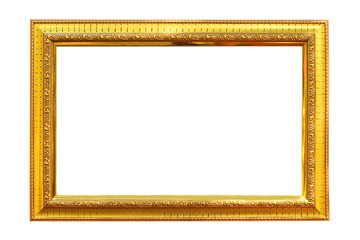 Gold picture frame isolated on white background.