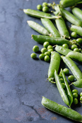 Young organic green pea pods and peas over blue gray texture metal background. Close up with space. Harvest, healthy eating.