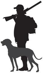 Hunting dog and hunter with the gun vector silhouette, Weimaraner gundog breed