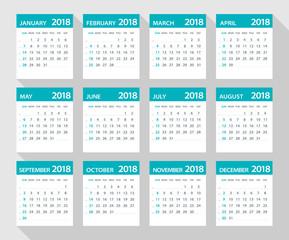 2018 calendar flat leaves - Illustration