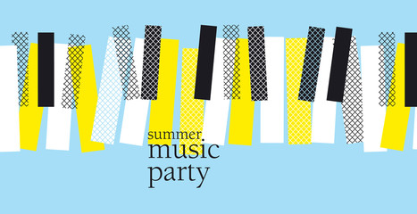 concept modern music poster vector illustration. Print and web design template for summer piano concert, party, jazz session