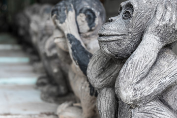 Close up monkeys statue