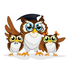 Cheerful school owls