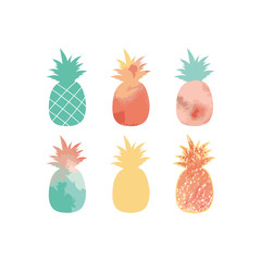 A collection of cute pineapple silhouettes. Vector illustration