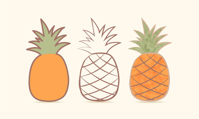Three pineapple. Сaricature. Vector illustration