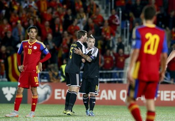 Belgium's Radja Nainggolan and Jan Vertonghen celebrate a goal against Andorra during their Euro 2016 Group B qualifying soccer match at Estadi Nacional stadium in Andorra la Vella