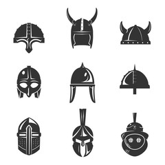 Warrior helmet flat icon set