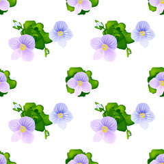 Seamless pattern, blue flowers