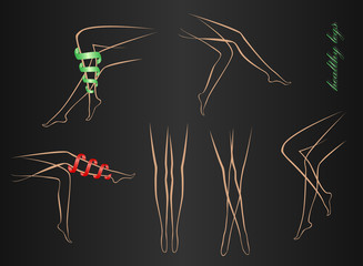 contours of shapely female legs in various poses on a black background