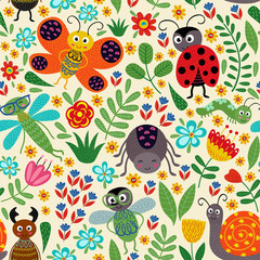 seamless pattern with insect and plants - vector illustration, eps