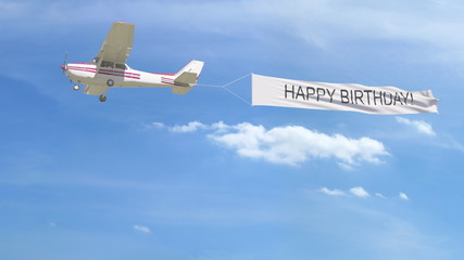 Small propeller airplane towing banner with HAPPY BIRTHDAY caption in the sky. 3D rendering