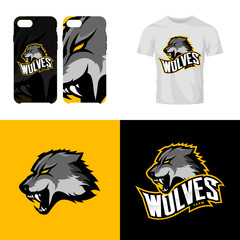 Wolf head sport club isolated vector logo concept.
